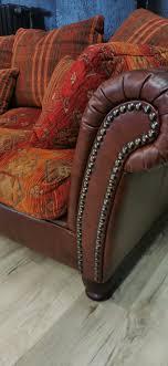 colonial big size sofa kunstleder rotbraun polster stoff muster gebraucht