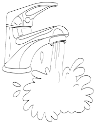 Running Water From Tap Coloring Page