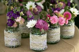 Recyclingideen Vasern Your Own Wedding Ideas DIY Lace Yarn Summer Flowers