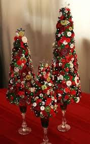 Button Christmas Styrofoam Trees With Wine Glass Bases Pushed In