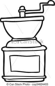 Black And White Cartoon Coffee Bean Grinder