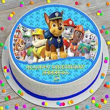personalised paw patrol 19cm edible cake topper de