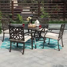 PHI VILLA Outdoor Patio Cast Aluminum Extra Wide Chairs With Cushion And  37
