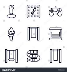 Games Icons Set Of 9 Outline Such As Swing Board Game