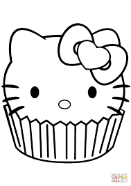 Cupcake Coloring Pages Hello Kitty Page Free Printable Picture