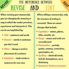 The Difference Between Revising And Editing In English Writers
