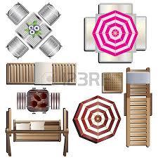 Outdoor Furniture Top View Set 18 For Landscape Design Vector Illustration