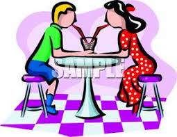 Royalty Free Clipart Image A Boy and Girl Sipping From the Same Milkshake In an Ice Cream Parlor