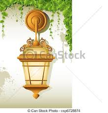 Hanging Lamp Illustration Of Old On Wall With Eps
