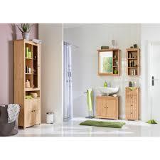 home affaire hochschrank westa breite 62 cm badezimmerschrank aus massivholz kiefernholz metallgriffe 4 offene fächer 3 türen