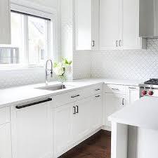 white geometric kitchen wall tiles design ideas