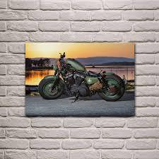 grün rod motorrad coole bike motorrad wohnzimmer dekoration hause wand kunst dekor holz rahmen stoff poster ka310