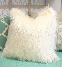 Ivory Mongolian Lamb Faux Fur Pillow – Dorm Decor