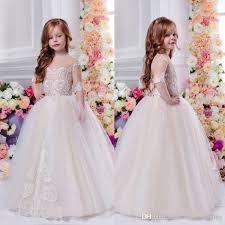 2018 Lovely Flower Girls Dresses For Weddings 1 2 Sleeves Sheer