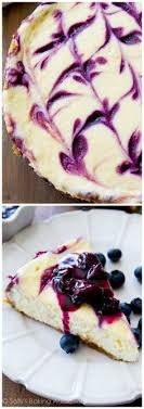 Ultra creamy homemade cheesecake swirled with a sweet blueberry swirl All on top of my