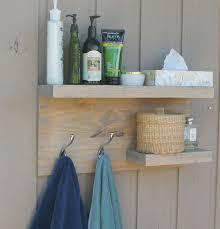 2 Tier Floating Shelf Rustic Modern Bathroom Towel Rack Bronze Robe Hooks