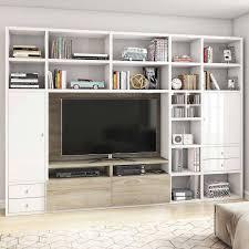 wohnzimmer tv mediawand in glanz weiß nano