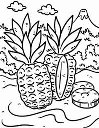Pineapple Wild In A Tropical Island Coloring Page