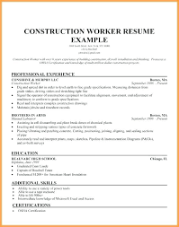 Cv Template Construction Worker Resume Carpenter Sample Examples Electrician