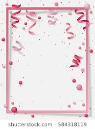 Poster With Paper Frame Colored Dust Confetti Balls And Serpentine Ribbon