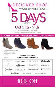 Designer Shoe Warehouse Sale in Mississauga Oct 5 9