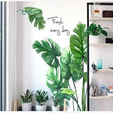tropical monstera leaf wall sticker fresh green planting etsy