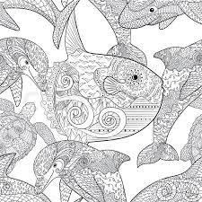 Oceanic Animals Zentangle Seamless Pattern Hand Drawn Tile Texture For Coloring BookTemplate Textile Wrapping Or Scrapbook Paper Print