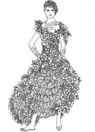 Coloring Page Flowers Dress