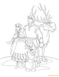 Anna Kristoff Sven And Olaf Coloring Page