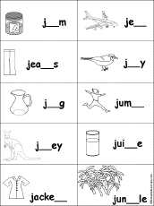 Fill in Missing Letters in Words that Start with J