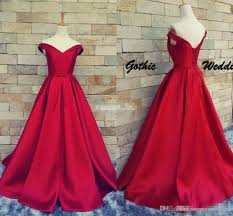 dark red satin prom ball gowns off shoulder lace up belt real