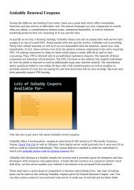 Godaddy Renewal Coupons... By Jonathankelly804 - Issuu