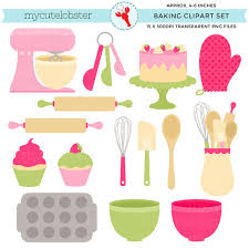Pink & Green Baking Clipart Set clip art set of cakes whisk spatula bowls bake personal use small mercial use instant from