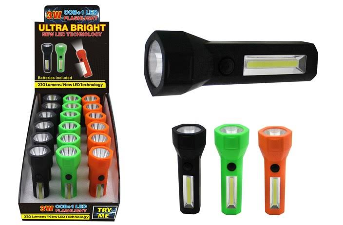 DD 3 Watt COB + 1 LED Flashlight(Pack of 18)