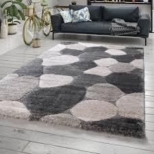 hochflor teppich shaggy stein muster