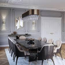 luxus esstisch mit gold und tollen gepolsterten stühlen