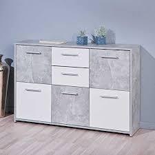 pharao24 schlafzimmer kommode in weiß grau beton optik