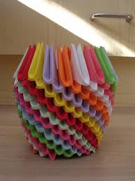 3D Origami Vase With Flowers