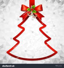 Red Ribbon Bow And Hanged Christmas Tree Frame Vector With Abstract Polygonal Background