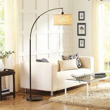 Curved Floor Lamp Base by Bhg Burlap And Metal Arc Floor Lamp With Cfl Bulb Bronze