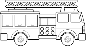 Firetruck Clipart Black And White - Letters