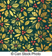 Vector Gold And Green Holly Berry Holiday Seamless Pattern