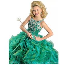 aliexpress com buy crystals beaded cute kids ball gown emerald
