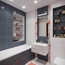ideen badezimmer ohne fenster graue fliesen regale wand