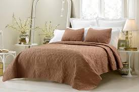 Oversized 3pc Quilted Coverlet Set Brown BlowoutBedding