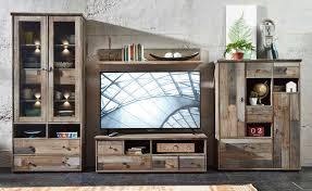 details zu wohnwand wohnzimmer set 5 tlg vitrine kommode lowboard tisch vintage shabby