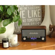 denver dab 18 vintage style stereo dab dab fm radio real wood cabinet bluetooth clock radio alarm aux in for smart phone tablet mp3