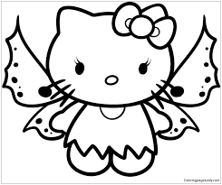 Fairy Hello Kitty Coloring Page