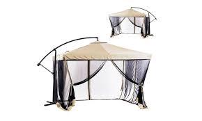 Offset Patio Umbrella W Mosquito Netting offset patio umbrella 9 u0027 x 9 u0027 with gazebo mesh netting groupon