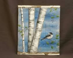 White Birch Painting Pallet Wood Bird Wall Art Barnwood Reclaimed